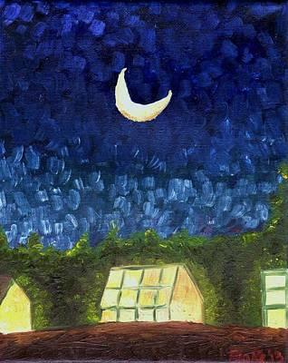 Three Greenhouses Under A Crescent Moon Art Print