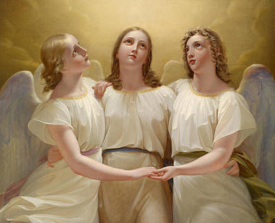 Allegory Painting - Three Guardian Angel by Franz Kadlik