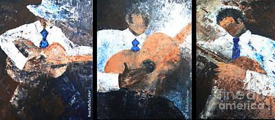 Three Guitar Players Art Print by Roni Ruth Palmer