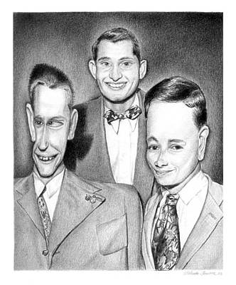 Drawing - Three Guys by Melinda Fawver