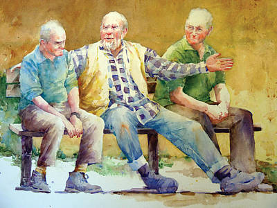 Three Guys On A Bench Art Print by Janet Flom