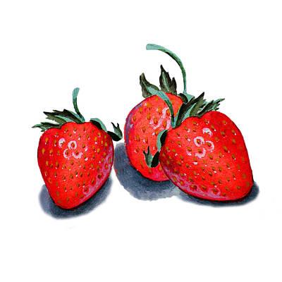 Three Happy Strawberries  Art Print