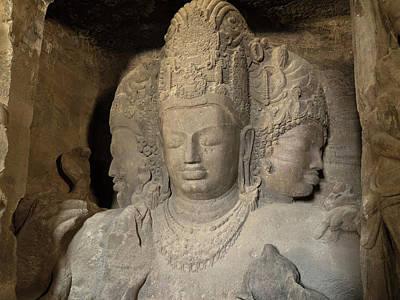 Hindu Gods Photograph - Three Headed Sculpture Of Maheshmurti by Panoramic Images