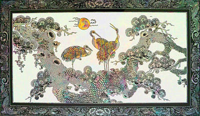 Three Herons And The Sun Original by Wide Awake Arts
