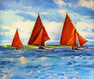 Irish Oil Painting - Three Hookers by Conor McGuire