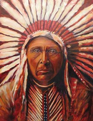 Three Horses, Native American  Art Print