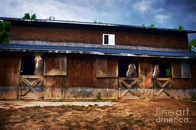 Three Horses In A Barn Print by Dan Friend