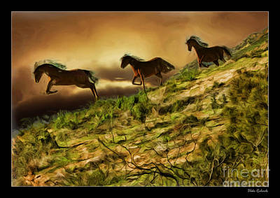 Three Horse's On The Run Art Print