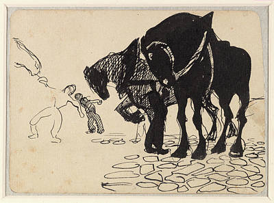 Umberto Drawing - Three Horses Tended By Men Stone by Umberto Boccioni
