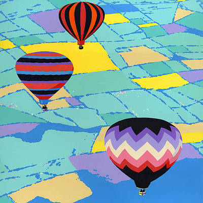 Arial Landscape Painting - Three Hot Air Balloons Arial Absract Landscape - Square Format by Walt Curlee