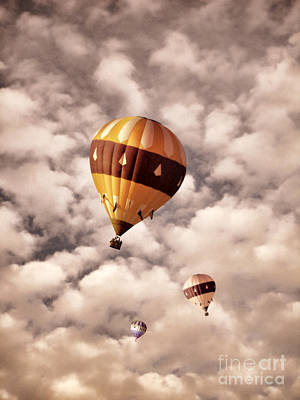 Photograph - Three Hot Air Balloons In The Clouds by Jill Battaglia