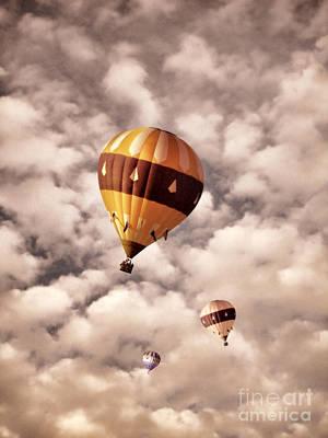 Photograph - Three Hot Air Balloons In The Clouds by Jill Battaglia
