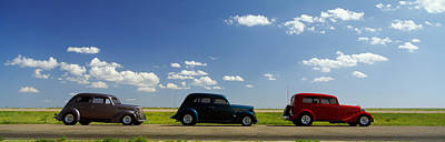 Three Hot Rods Moving On A Highway Art Print by Panoramic Images