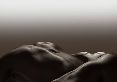 Naked Photograph - Three Human Naked Bodies, Monochrome by Jonathan Knowles