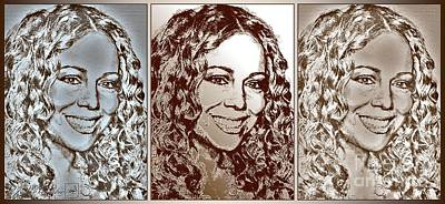 Digital Art - Three Interpretations Of Mariah Carey by J McCombie