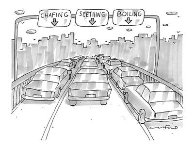 Raging Drawing - Three Jammed Traffic Lanes On A Bridge Have Signs by Michael Crawford