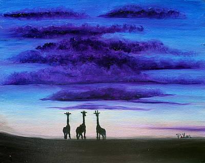Painting - Three Jiraffes by Pilar  Martinez-Byrne