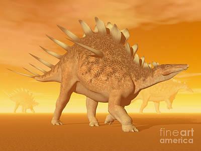 Three Kentrosaurus Dinosaurs Art Print by Elena Duvernay