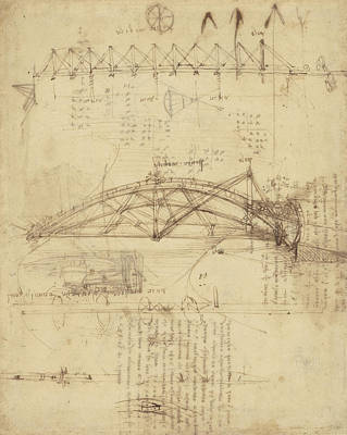 Plans Drawing - Three Kinds Of Movable Bridge by Leonardo Da Vinci