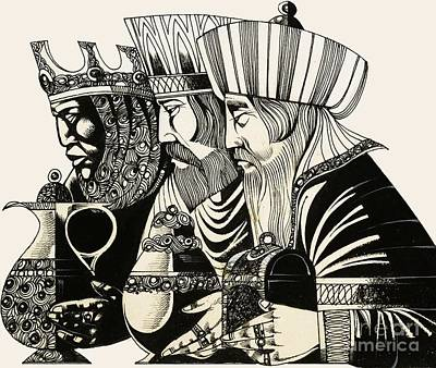 Greetings Card Drawing - Three Kings by Richard Hook