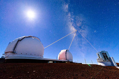 Keck Photograph - Three Lasers On The Galactic Center by Jason Chu