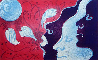 Surrealist Painting - Three by Laura Joan Levine