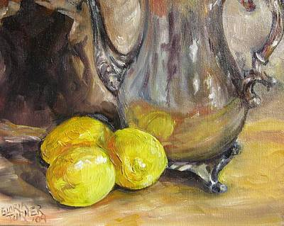 Silver Tea Pot Painting - Three Lemons by Gloria Turner