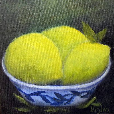 Painting - Three Lemons by Loretta Luglio