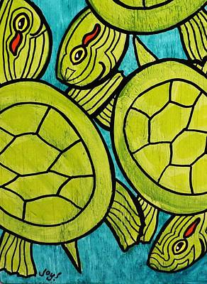 Slider Painting - Three Lime Green Turtles by Joy Green