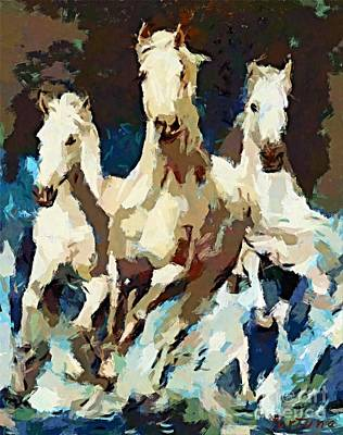 Horse Painting - Three Lipizzans by Dragica  Micki Fortuna
