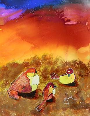 Painting - Three Little Birdies by Jann Elwood