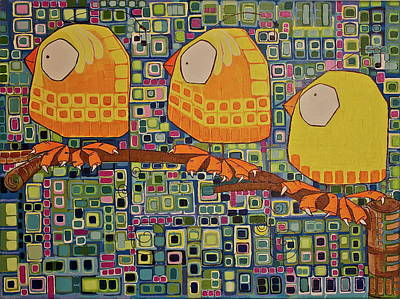 Print featuring the painting Three Little Birds by Donna Howard