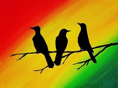 Three Little Birds Original Painting Art Print