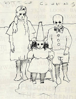 Clown Drawing - Three Little Clowns by H James Hoff