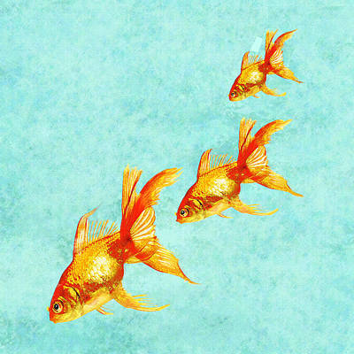 Gold Fish Digital Art - Three Little Fishes by Jane Schnetlage