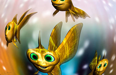 Goldfish Digital Art - Three Little Fishies And A Mama Fishie Too by Bob Orsillo