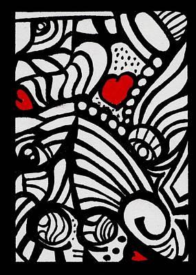 Three Little Hearts  Art Print by Carrie Stewart