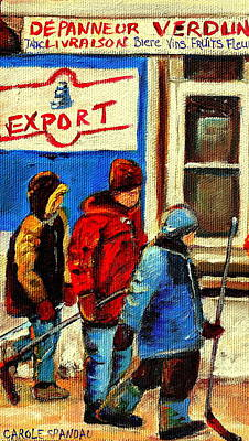 Painting - Three Little Hockey Friends Depanneur Verdun Deli Montreal Winter Scenes By Carole Spandau by Carole Spandau