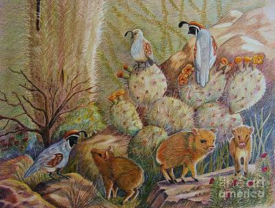 Three Little Javelinas Art Print by Marilyn Smith