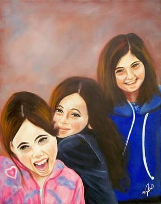 Girls Painting - Three Little Ladies by Joni McPherson