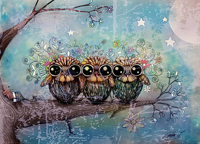 Painting - Three Little Night Owls by Karin Taylor