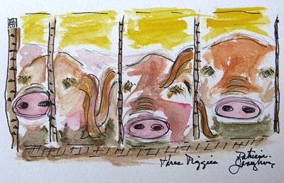Piggies Painting - Three Little Pigs by Patricia Januszkiewicz