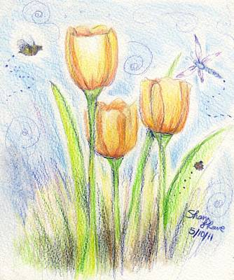 Ladybug Drawing - Three Little Tulips by Shana Rowe Jackson