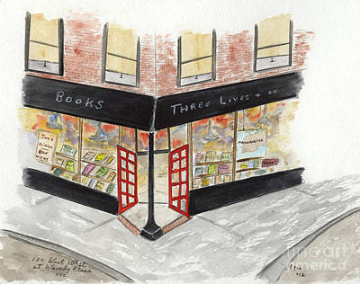Painting - Three Lives Bookstore by AFineLyne