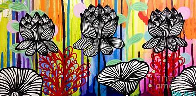 Painting - Three Lotuses by Carla Bank