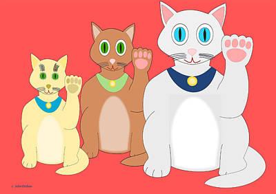 Three Lucky Cats Art Print