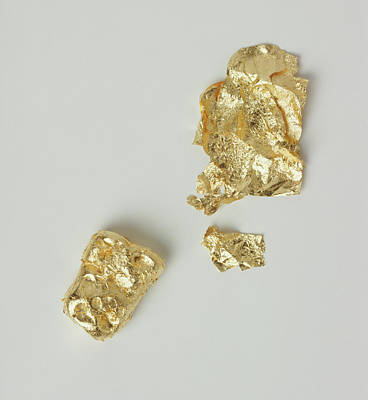 Gold Jewellery Photograph - Three Lumps Of Gold by Dorling Kindersley/uig