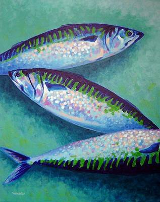 Salmon Painting - Three Mackerel by John  Nolan