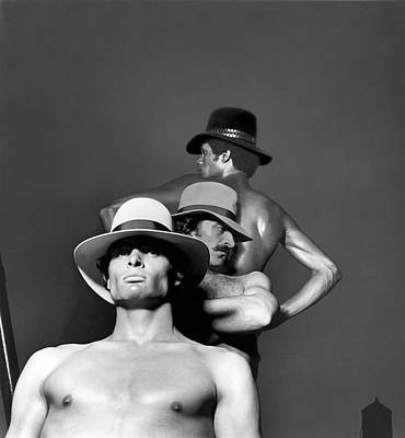 Photograph - Three Male Models Wearing Designer Hats by Owen Brown