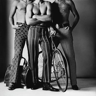Fashion Photograph - Three Male Models Wearing Patterned Trousers by Ken Haak